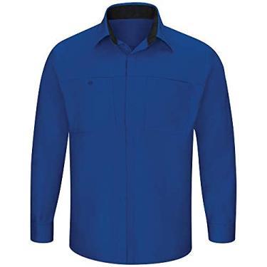 Imagem de Camisa masculina Red Kap de manga comprida Performance Plus Shop com tecnologia OilBlok, Royal Blue With Black Mesh, X-Large Tall