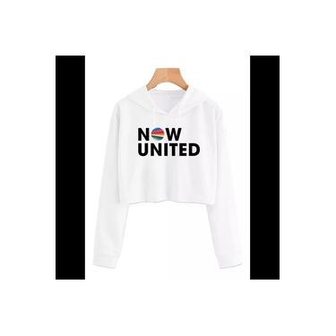 Cropped Moletom Feminino Blusão Canguru  Now United Music Cinza Mescla