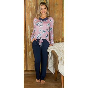 Pijama viscolycra floral com bolso e renda no decote - 205122 (M)