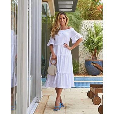 Imagem de Vestido Midi em Laise (Branco, Médio)