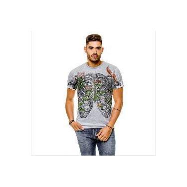 Camiseta Caveira Floral Vintage Cinza Masculina