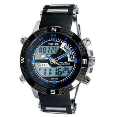 fcecc46d60d Relogio Masculino Weide Anadigi Esporte Azul Wh-1104 masculino