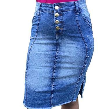 Saia Jeans Evangélica social joelho Zíper Lycra Secretaria Cor:Azul;Tamanho:36