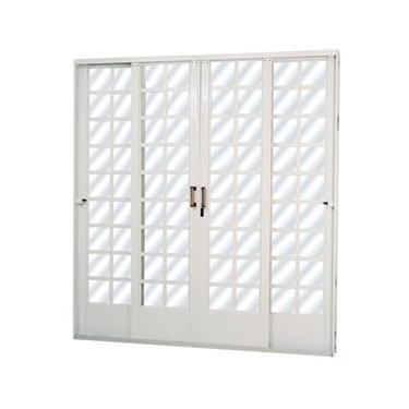 Porta de Correr em Aço Quadriculado 4 Folhas Mini Boreal MGM 2,15m x 1,60m