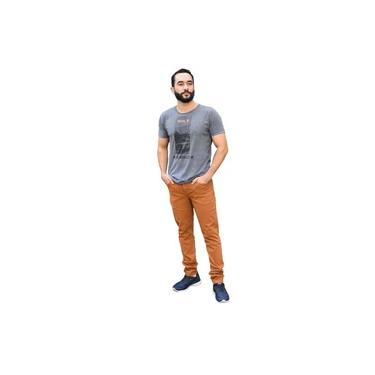 Calça Jeans Skinny Masculina Marrom Cambos