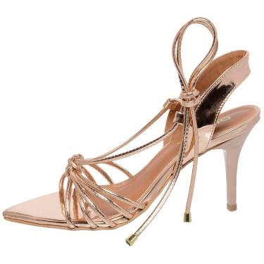 Sandália Di Scarp Calçados Bico Folha Espelhado Bronze  feminino