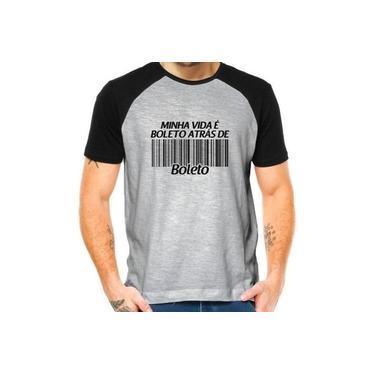 Camiseta Camisa Raglan Minha Vida É Boleto Atrás De Boleto