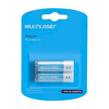 Pilhas Recarregáveis Aa Multilaser 2500Mah Com 2 Unidades - CB053 CB053