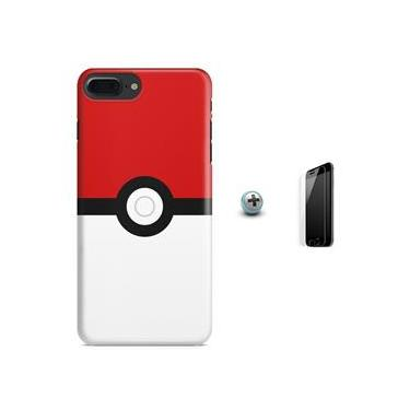 Kit Capa Case TPU iPhone 7 Plus - Pokeball + Película de Vidro (BD01)