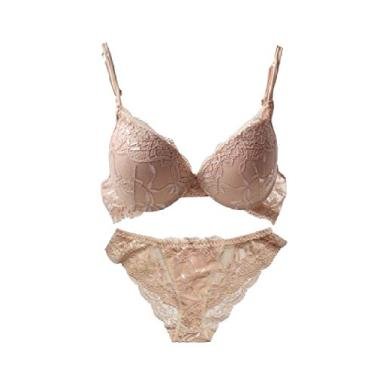 Doufine – Sutiã feminino solto casual com aro e calcinha transparente, Nude, 36A(80A)