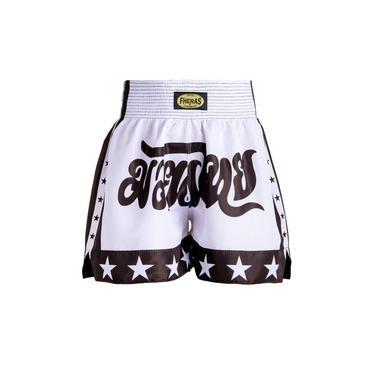Shorts Boxe Muay Thai Fheras Training New Estrela Branco