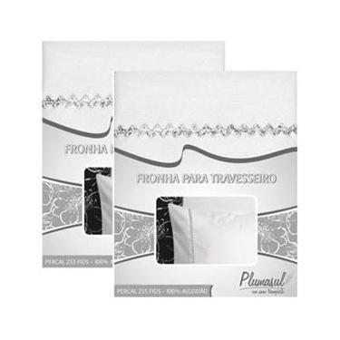 Imagem de Fronha com Sianinha Plumasul 233 fios 50x90 cm 2 unidades - Branca