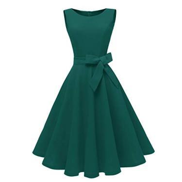 Dressever Vestido de festa sem mangas vintage dos anos 50 e 60, Azul-petróleo, XS