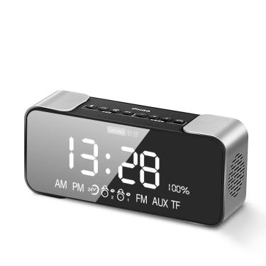 Lenovo L022 Alto-falante Bluetooth Sem Fio LED Espelho Despertador Duplo Rádio FM Duas Unidades Bass Cartão TF AUX Alto- Banggood