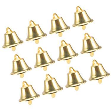 Toddmomy 120 peças de ornamentos de sinos de Natal Mini Sinos de Natal Árvore de Natal Pendentes de Sino de Trenó de Metal para Decoração de Festas de Feriado, Artesanato de 30 mm (Dourado)