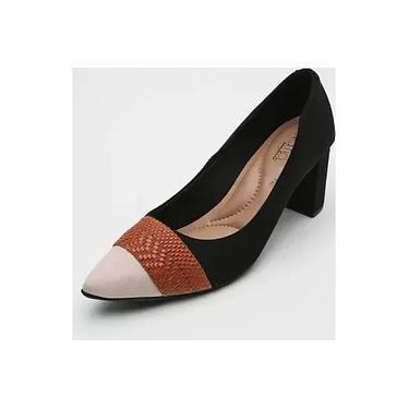 Sapato Scarpin Feminino Beira Rio Preto/Creme - 4241108
