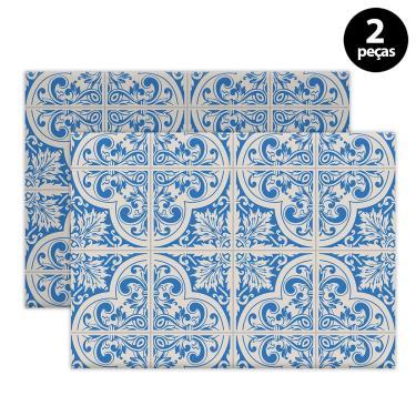 Imagem de Jogo Americano Mdecore Azulejo Português 40x28cm Azul 2pçs
