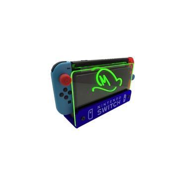 Suporte Bancada/Parede Nintendo Switch Iluminado - Mario Odyssey - Base Azul LED Verde