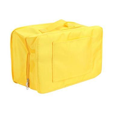Hemoton Organizadores de Embalagem de Bagagem de Viagem Cubos de Embalagem de Mala Dobrável Recipiente de Bagagem de Bagagem para Viagem (Amarelo)