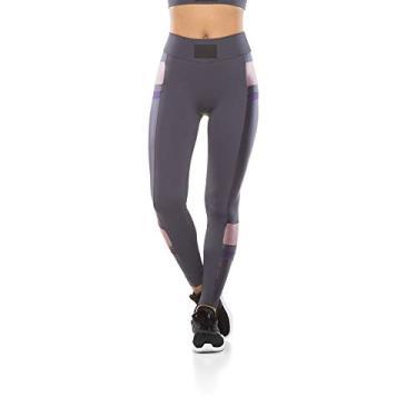 Calça Legging Fitness Perna Color Block - Grafite - G
