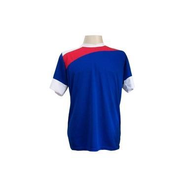 Jogo de Camisa com 14 unidades modelo Sporting Royal/Vermelho/Branco + 1 Goleiro +