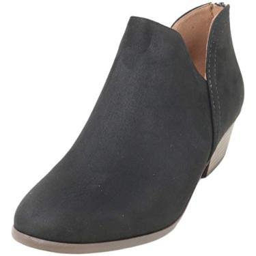 Imagem de Bota feminina Madeline Western com bico redondo e amêndoa – Salto baixo – Zíper – Bota casual no tornozelo, Black Suede, 6.5