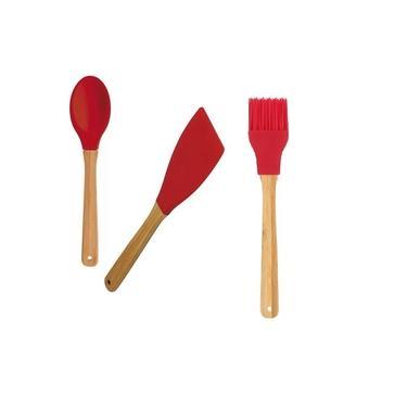 kit Colher + Espatula + Pincel de Silicone e Bamboo Mor