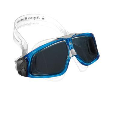 Máscara Natação Seal 2.0 Lente Fumê Aqua Sphere - Transparente/Azul