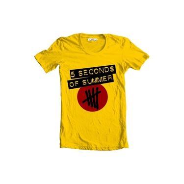 Camiseta Masculina Manga Curta 5sos 5 Seconds Of Summer - Amarelo - M