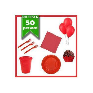 Kit Descartáveis Vermelho 50 Pessoas