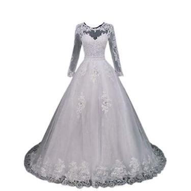 Imagem de Vestido De Noiva 2 Peças Longo E Curto Com Mangas Compridas (BRANCO)