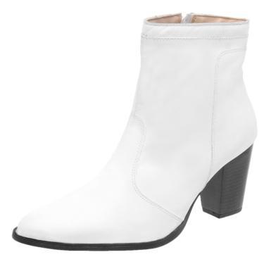 Bota Miuzzi Cano Curto Salto Medio Branco  feminino