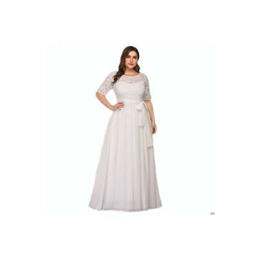 Vestido Renda Longo Casamento Plus Size Civil Noiva Festa