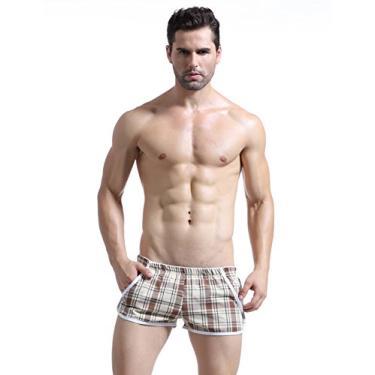 Imagem de Letuwj Cueca boxer masculina cintura solta elástica, Xadrez amarelo, Asian L(US M)