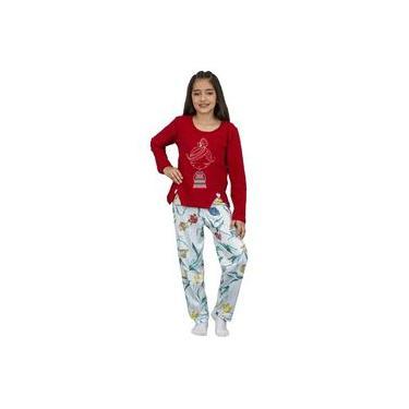Pijama Infantil Menina Manga Longa Camiseta Vermelha e Calça Flores