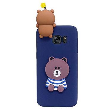 Capa Grandcase para Galaxy S7, ultrafina, bonita, moderna, 3D, de silicone macio, à prova de choque, à prova de quedas, capa protetora para Samsung Galaxy S7 de 5,1 polegadas - urso fofo
