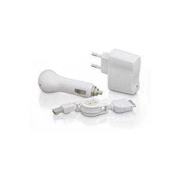 Carregador De Celular Kit 3 Em 1 Iphone 4/4s Dock - Branco