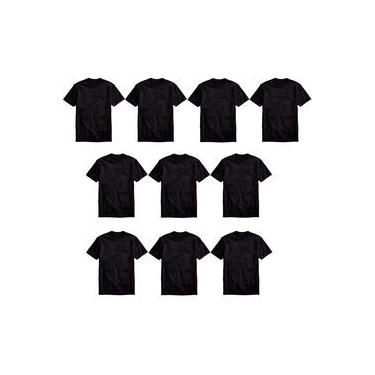 Kit 10 Camisetas Básicas Masculina T-shirt 100% Algodão Preta Tee