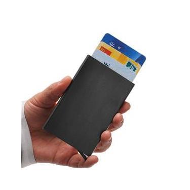 Carteira Porta Cartões Ultra Fino Alumínio Pop Up