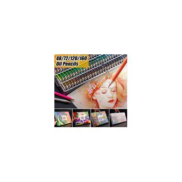 Conjunto profissional de lápis de cor a óleo Pintura do artista Esboço de madeira Lápis de cor Material escolar de arte 48/72/120/160 cores