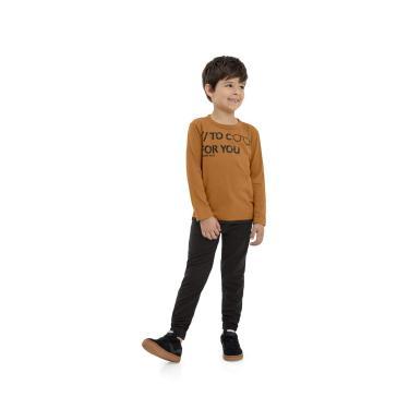 Camiseta Infantil Manga Longa Meninos Quimby, Marrom, 14