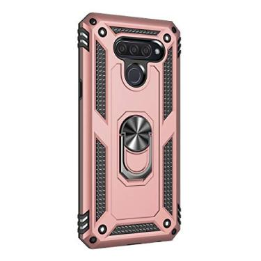 Hicaseer Capa para LG Q60, policarbonato + TPU antiqueda antichoque anti-arranhões magnético rotação de 360 graus capa completa para LG Q60 – Ouro rosa