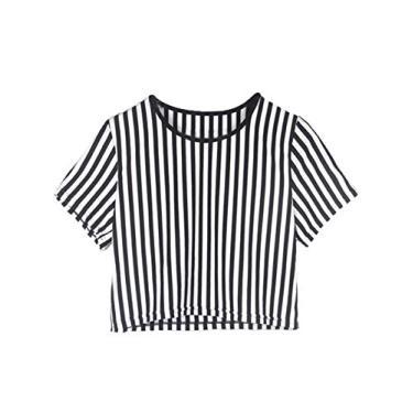 Imagem de Blusa feminina listrada cropped casual de verão de manga curta para adolescentes, Branco, S