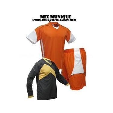 Uniforme Esportivo Munique 1 Camisa de Goleiro Omega + 10 Camisas Munique +10 Calções - Laranja x Branco x Preto