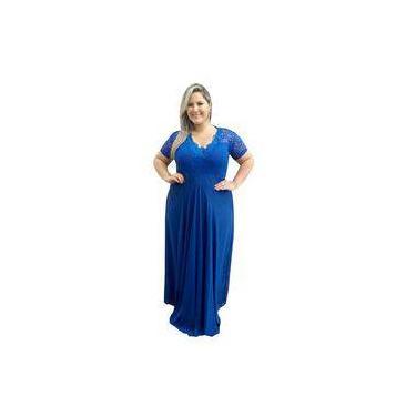 Vestido de Festa Plus Size Azul Royal - Madrinha, Casamento, Formatura Lindo