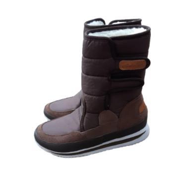 Bota Forrada Neve e Frio Velcro Marrom  feminino