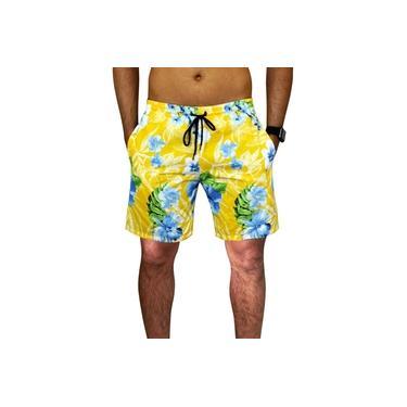 Bermuda Praia Estampada Masculina Floral Amarela Tactel Verão C/ Bolsos Laterais Ref.394.9