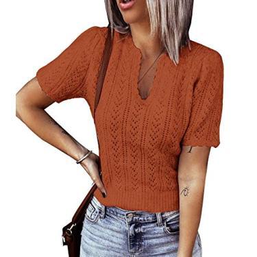 Suéter feminino de manga curta com gola em V e pulôver de malha leve Pointelle suéter túnica, Laranja, M