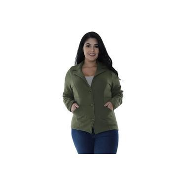 Casaco Plus Size de Moletom com Recortes Verde Militar