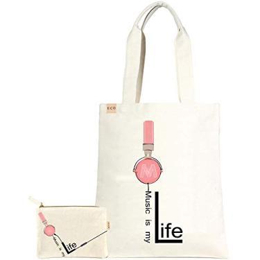Conjunto de 2 bolsas de lona de algodão ECO da you e bolsa sacola de viagem para compras, 2 Pcs-music is My Life, Medium